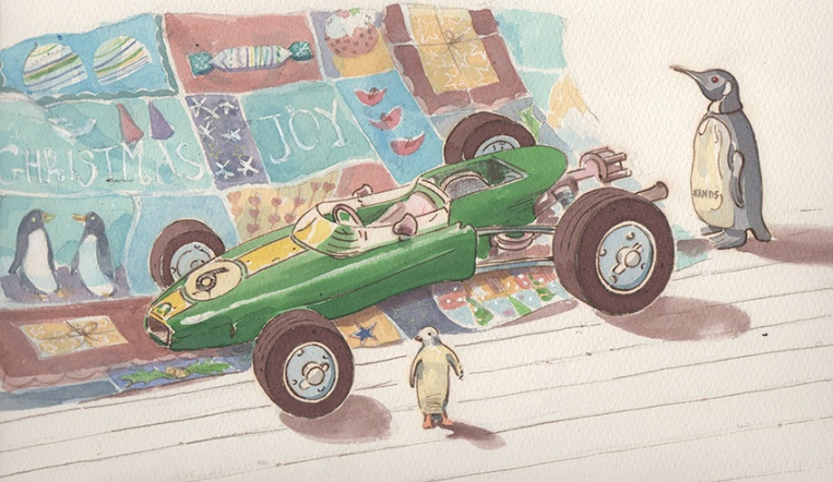 Toy racing car and penguins